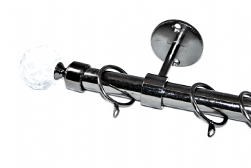 19mm Black Nickel Ceiling Curtain Pole with Cut Glass Crystal Ball Finials 1.2m 1.5m 2.4m 3m